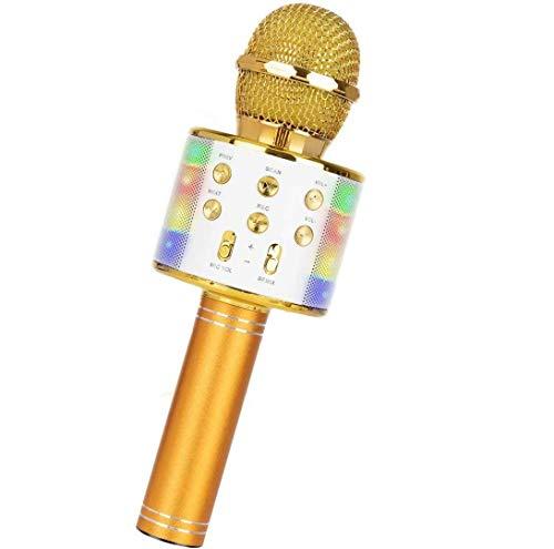 Drahtloses Bluetooth-Karaoke-Mikrofon, tragbarer 5-in-1-Handheld-Mikrofon-Lautsprecher-Player-Recorder mit steuerbaren LED-Leuchten, einstellbares Remix-FM-Radio (Gold)