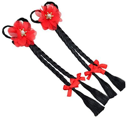 Lankater 1 paire pour les filles Bows Bandeau enfants longue tresse main perruque Bows Cheveux Bande Party Enfants Accessoires cheveux