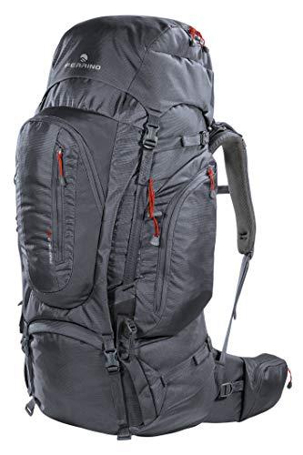 Sac à dos de randonnée Transalp 80 litres couleur gris foncé marque Ferrino – dos réglable en hauteur – Idéal pour randonnée, voyage, aventure