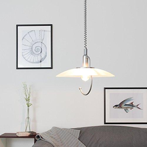Hängeleuchte Weiß Silber E27 höhenverstellbar Glas Schirm Pendelleuchte Hängelampe Küche Esstisch