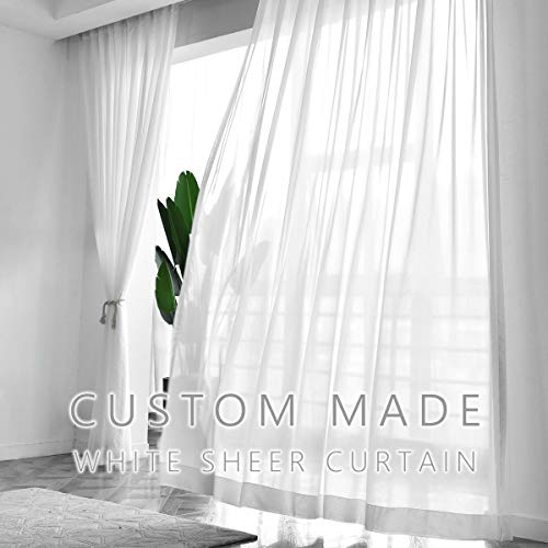 Drapifytex Solid Sheer Curtains Pinch Pleated Draperies Bedroom Drapes Voile Panel for Living Room (1 Panel) (Custom-Made, Custom-Made)