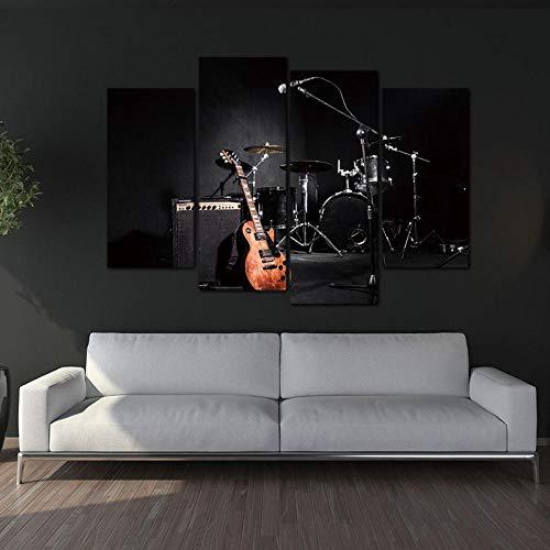 nobrand 4 panelen muurkunst schilderij De muziek van de band gitaar en rek trommel afbeelding op canvas voor de woonkamer decor-20x40 20x60cmx2 geen lijst