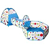 RFVTGB Kinder Spielen Zelt Mit Tunnel, 3 in 1 Pop-Up-Spielzelt Mit Tunnel Bällebad Mit Basketballkorb Spielzeug Geschenke Für Kinder, Innen-und Außenbereich Blau mit Hörnern