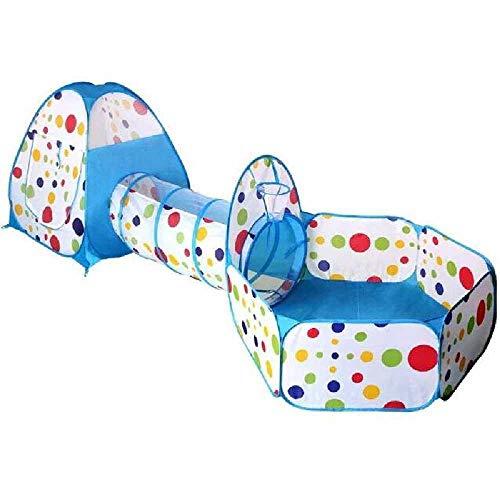 RFVTGB Tienda De Juegos para Niños con Túnel, Tienda De Juegos Pop-up 3 En 1 con Túnel Bola Ball con Aro De Baloncesto Juguetes Regalos para Niños, Uso En Interiores Y Exteriores Azul con Cuernos