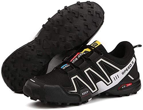KUXUAN Calzado de Ciclismo para Hombre - Calzado para Bicicleta de Carretera Calzado para Bicicleta de Montaña Calzado para MTB, Calzado Casual para Correr Antideslizante y Transpirable,Black-A-44EU