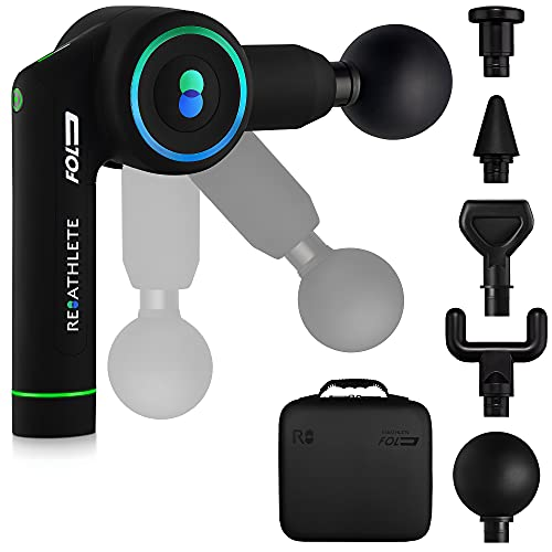 ReAthlete FOLD Massage Gun | First-Ever Foldable Professional Percussion Massager| Portable Wireless Massage Gun | Deep Tissue Pain Relief | Personal Massager for Athletes and Exercisers