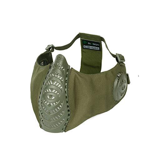 OneTigris X Division SIX T'Farge® Airsoft Faltbare halbe Maske Mesh Gesichtsmaske mit Ohrenschutz (OD Grün) |MEHRWEG Verpackung