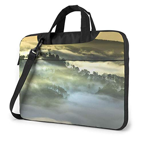 Laptop Shoulder Bag Carrying Laptop Case 15.6 Inch, Fog Scenery Computer Sleeve Cover with Handle, Business Briefcase Protective Bag for Ultrabook, MacBook, Asus, Samsung, Sony, Notebook