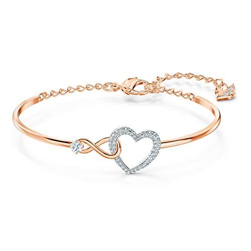 Swarovski Infinity Heart Armreif, Damenarmreif im Metallmix mit Unendlichkeitssymbol und Funkelndem Kristallherz