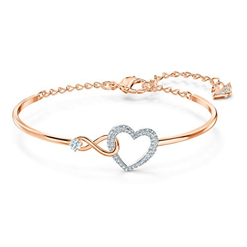Swarovski Bracciale Rigido Infinity Heart, Bianco, Mix Di Placcature