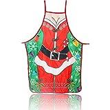 Delantales de Navidad, Delantal de la decoración navideñas Delantal de cocina para Navidad para cocinar en la cocina Hornear Navidad Adultos Delantales de novedad para Navidad Restaurante Casa Green