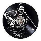 qweqweq Elvis Disco de Vinilo Reloj de Pared diseño Moderno 3D Decorado Rock Reloj de Pared decoración del hogar Reloj silencioso