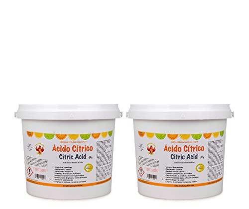 PACK 2 UDS - ÁCIDO CÍTRICO ANHIDRO EN POLVO 10 KG (2x5 KG)– Limpiador Ecológico del Hogar - 100% Puro y Biodegradable - Para Cocinas, Baños y Hogar en general