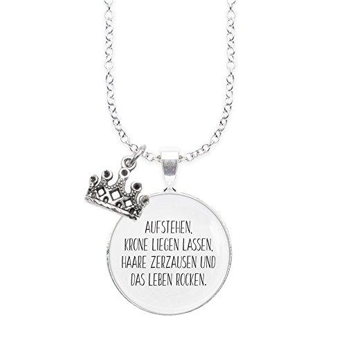 Spruchketten BY LIEBLICHKEITEN Nickelfreie Kette 80 cm mit Anhänger Spruch in 2,5cm großer Glaslinse und Charm Krone:AUFSTEHEN, Krone LIEGEN Lassen …