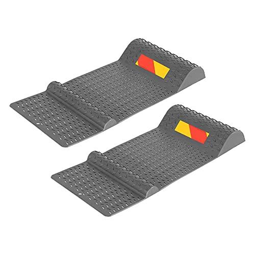 ECD Germany 2X Parkmatte 52 x 25 cm aus PP Kunststoff, Grau, rutschfeste und Selbstklebende Einparkhilfe mit Bremsschwelle für PKW, Autostopper Parkhilfe Parkmarkierung Einparkmatte Positionsmatte