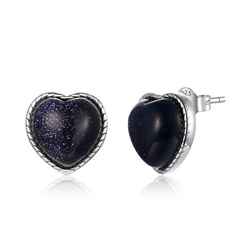 Pendientes de plata maciza 925 con estrella brillante para hombres y mujeres, simples pendientes de moda en forma de corazón de piedra arenisca azul s925