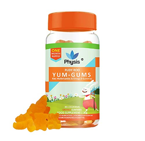 Physis Kids Multivitamin Gummies | 30 Orange Flavour Softies | Chewable Vitamin with Vitamins C, D, Omega 3 & More | Kids Vitamins Chewies for Cognition, Energy & Support Growth | Children's Vitamins