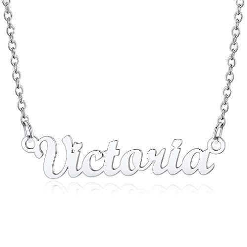 Victoria Collares Resistentes Metálicos con Letras de Nombres con Cadena Delgada Colgantes Modernos de Cuello para Hijos