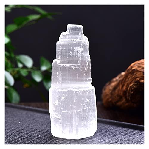 Piedras y cristales 1pc Natural Selenite Lámpara Gemstones Blancas Hielo Berg Lámpara tallada a mano alrededor de ornamentos de mineral de cristal Artesanía Reiki Decoración para el hogar Recoger