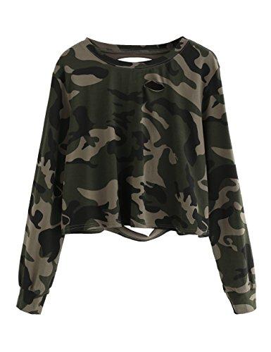 SweatyRocks Women's Tshirt Camo Print Distressed Crop T-Shirt Long Sleeve Tops Camo #1 S