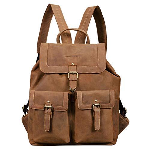 STILORD 'Nora' Großer Lederrucksack Vintage Hochwertiger Daypack 15.6 Zoll Rucksack-Handtasche für Schule Uni Freizeit Echtes Leder, Farbe:Used Look - braun