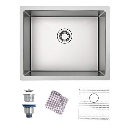 MENSARJOR Kitchen sink, Undermount Kitchen Sink 16 Gauge Single Bowl SUS304 Stainless Steel(22.6 X 18 X 10)