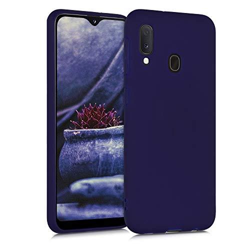 kwmobile Funda Compatible con Samsung Galaxy A20e - Funda Carcasa de TPU Silicona - Protector Trasero en Azul Profundo
