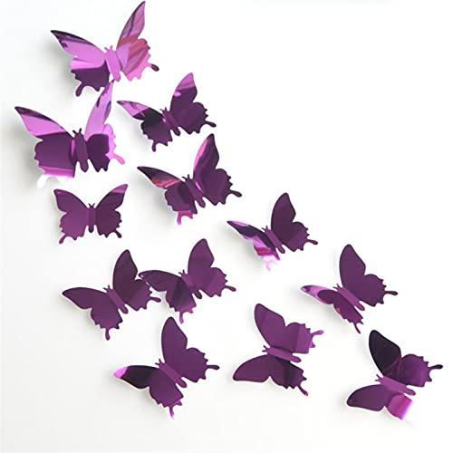 GHJGHJ 12 stücke 3D Schmetterling Spiegel wandaufkleber Schmetterlinge wandtattoo abnehmbare DIY wandkunst Party Hochzeit dekor für hausdekorationen (Color : Purple)