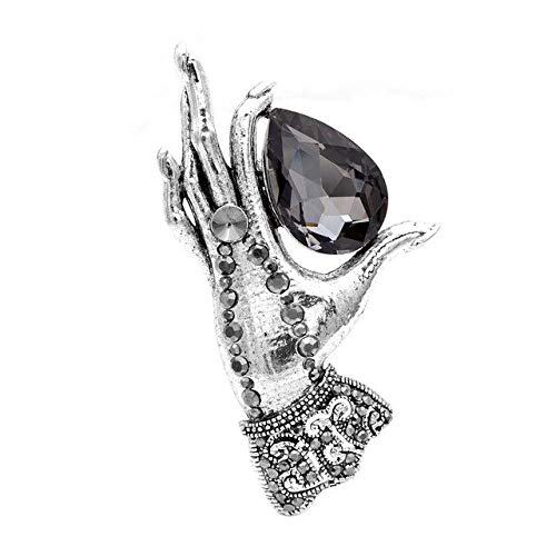 Vintage Hand Brooches for Women Large Crystal Palm Pin Fashion Jewelry Winter Accessories-Silver