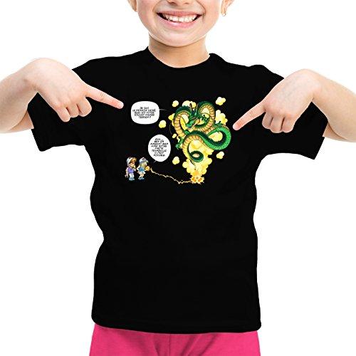 Okiwoki T-Shirt Enfant Fille Noir Dragon Ball Z - DBZ parodique Shenron et Les pétanqueurs Marseillais : La Pétanque, C'est sacré ! (Parodie Dragon Ball Z - DBZ)