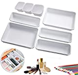 YADIMI Bandejas organizadora de cajones de escritorio, 8 Piezas Organizador de Cajón Plástico, Cajas de Almacenamiento 3 Tamaños para Baño Cocina Oficina Escritorio (Blanco)