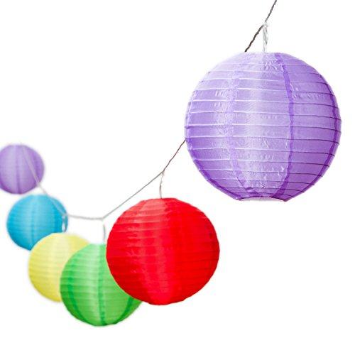 LuminalPark Guirlande 8 m, 10 lampions Multicolore Ø 20 cm, câble Transparent, prolongeable