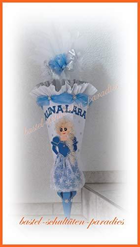 Schultüten Bastelset Eiskönigin hellblau-weiß mit Diamant-Rohling