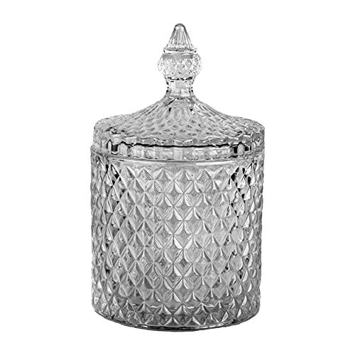 DRULINE Bonboniere Glasschale Kristallschale mit Deckel Bonbonglas Glassdose Schale 18 cm