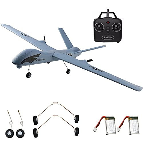 RC Plane Remote Control Airplane - 2.4Ghz 2 Channels DIY RC Predator Aircraft with 3-Axis Gyro for Beginner RC Plane with 2 batteries, Wingspan 660mm