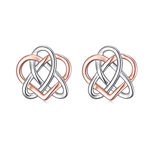 S925 Sterling Silver Jewelry Two Tone Good Luck Irish Celtic Knot Triangle Vintage Love Heart Stud Earrings for Women