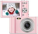 fotocamere digitali compatte 2.7k hd macchina fotografica 44 megapixel 2,88 pollici lcd ricaricabile vlogging mini video fotocamer digitale zoom digitale 16x per adulti, adolescenti, bambini(rosa)