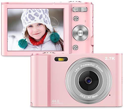 Compactas Cámaras Digitales 2,88 Pulgadas 2.7K 44Megapíxeles HD Camara Fotos Recargable Cámara para de Bolsillo Cámar as Digitales con Zoom 16X Camara Compacta para Principiantes, Niños, Adole