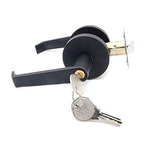 NUZAMAS Cerradura de puerta de la palanca de entrada, aleación de zinc, cerradura de la puerta exterior e interior con 3 llaves, juego de cerradura de seguridad de la puerta, color negro