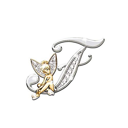 Metal cristal letra inglesa palabra broche elfo ángel solapa traje camisa cuello pines broches para mujer accesorios-F