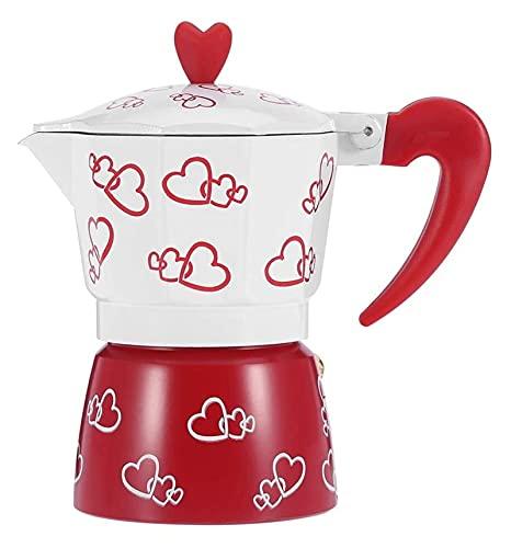 Doniczka do kawy -durowa espresso ekspres do kawy czajnik płyta kuchenna ekspres do kawy biuro (Color : Red, Size : 19.5x18x10cm)