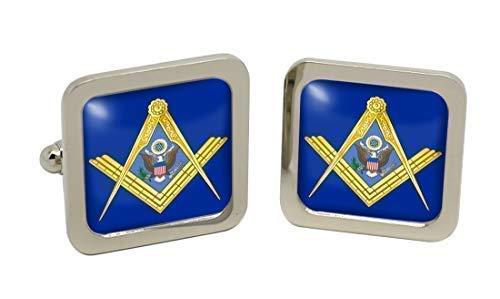 American Masons maçonnique carré Boutons de manchette pour homme avec coffret cadeau en chrome