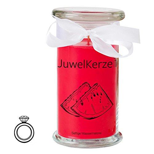 JuwelKerze Saftige Wassermelone - Kerze im Glas mit Schmuck - Große rote Duftkerze mit Überraschung als Geschenk für Sie (Silber Ring, Brenndauer: 90-120 Stunden)(L)