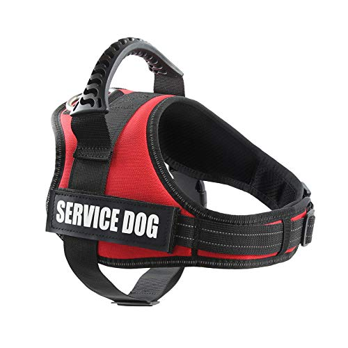 "Pawshoppie Real Reflective Service Dog Vest Harness with 2 Free Removable Service Dog and 2 ""Emotional Support'' Patches, Woven Polyester & Nylon, Comfy Soft Padding (M(Girth:25-31''), Red)"