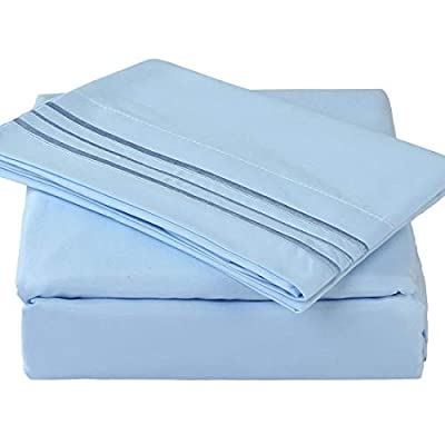 """TEKAMON Premium 4 Piece Bed Sheet Set 1800TC Bedding 100% Microfiber Polyester - Super Soft, Warm, Breathable, Cooling, Wrinkle Free - 10-16"""" Extra Deep Pockets, Queen, Lake Blue"""