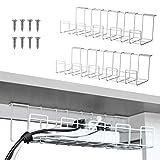 2 paquetes de bandeja de administración de cables, organizador de cables debajo del escritorio de 16 pulgadas para administración de cables (blanco)