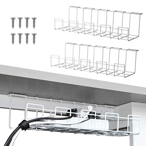 2 Packs Cable Management Tray, 16 inches Under Desk Cable...