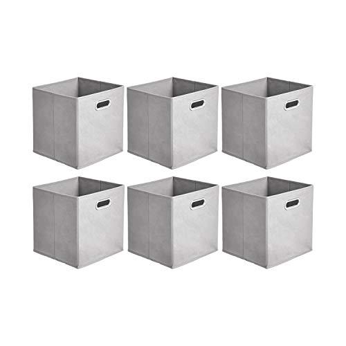 Amazon Basics - Cajas de almacenamiento de tela, con forma de cubo, plegables, con ojales metálicos, 6 unidades, gris claro