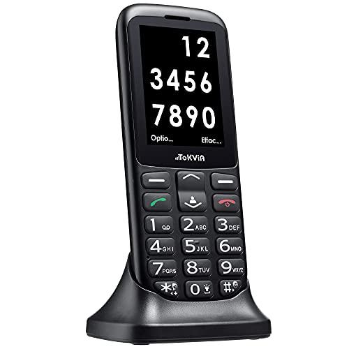 TOKVIA T111 Téléphone portable débloqué avec grosses touches, bouton d'assistance, et écran large de 2,4 pouces conçu pour les seniors