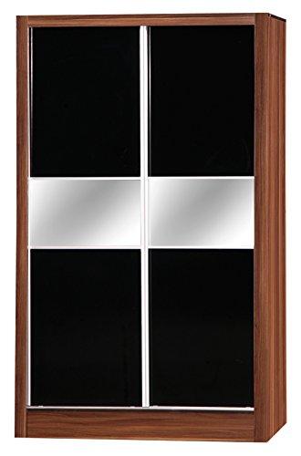 Alpha Miroir Double Porte coulissante Armoire, en Bois, Noir/Noyer